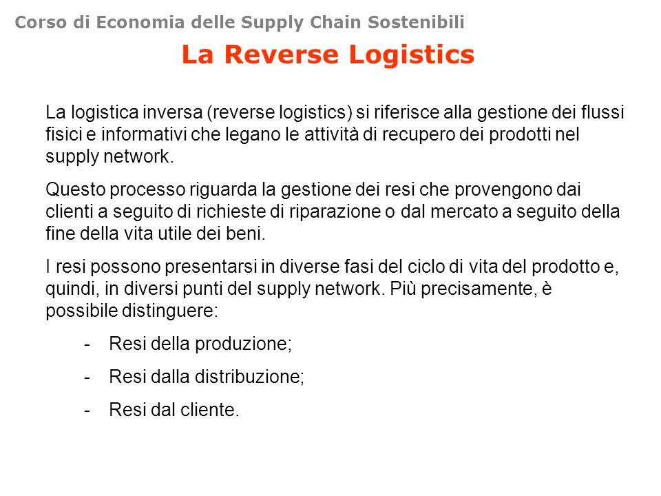 Corso di Economia delle Supply Chain Sostenibili La Reverse Logistics La logistica inversa (reverse logistics) si riferisce alla gestione dei flussi fisici e informativi che legano le attività di recupero dei prodotti nel supply network.
