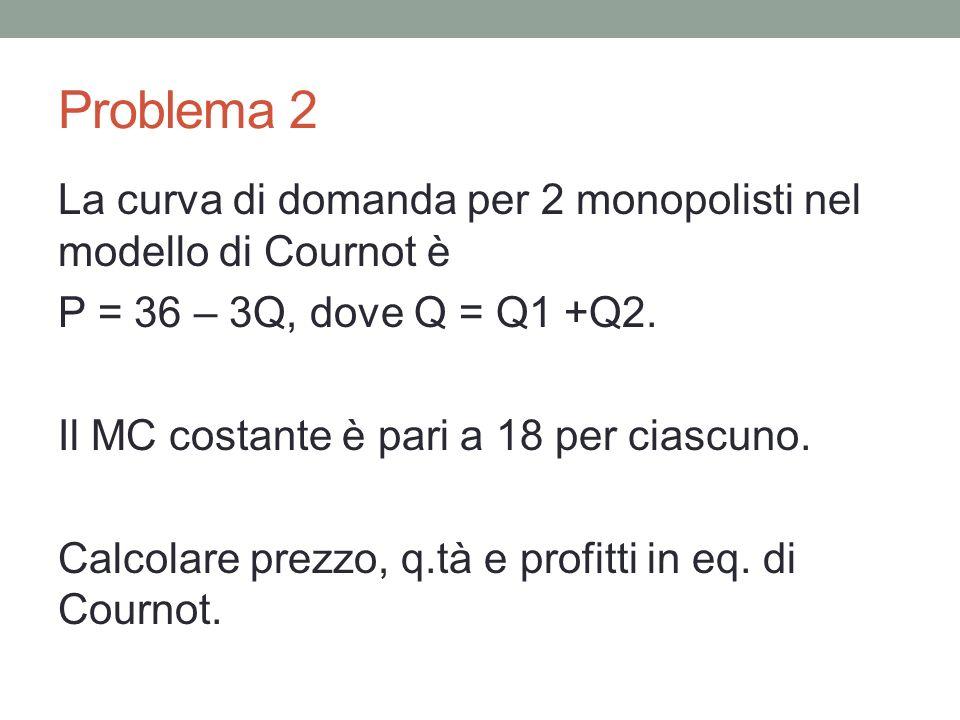 Problema 2 La curva di domanda per 2 monopolisti nel modello di Cournot è P = 36 – 3Q, dove Q = Q1 +Q2. Il MC costante è pari a 18 per ciascuno. Calco