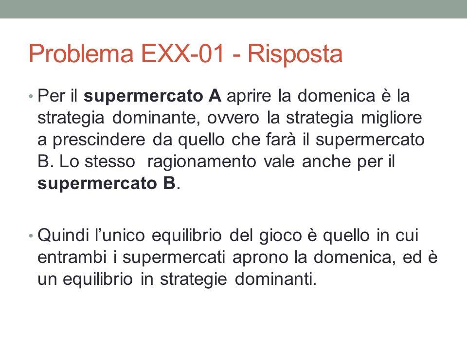 Problema EXX-01 - Risposta Per il supermercato A aprire la domenica è la strategia dominante, ovvero la strategia migliore a prescindere da quello che