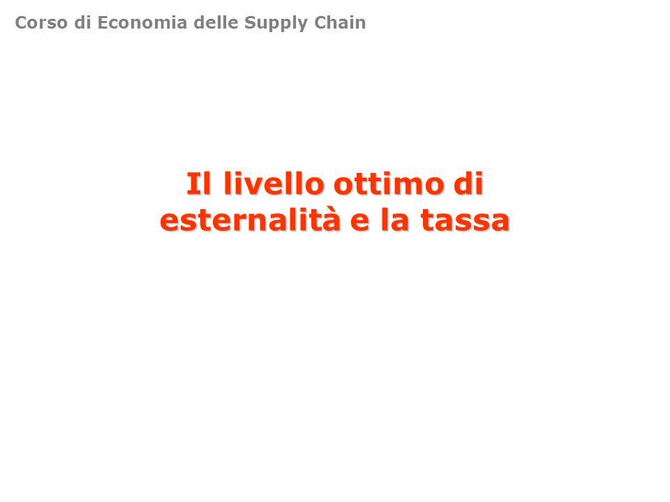Il livello ottimo di esternalità e la tassa Corso di Economia delle Supply Chain