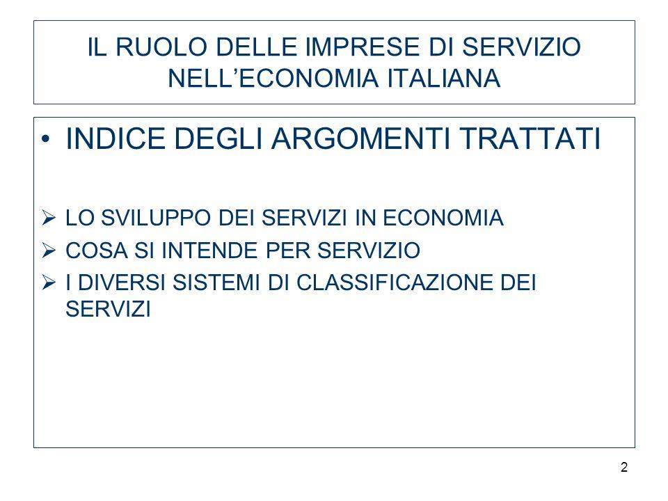 2 IL RUOLO DELLE IMPRESE DI SERVIZIO NELLECONOMIA ITALIANA INDICE DEGLI ARGOMENTI TRATTATI LO SVILUPPO DEI SERVIZI IN ECONOMIA COSA SI INTENDE PER SERVIZIO I DIVERSI SISTEMI DI CLASSIFICAZIONE DEI SERVIZI