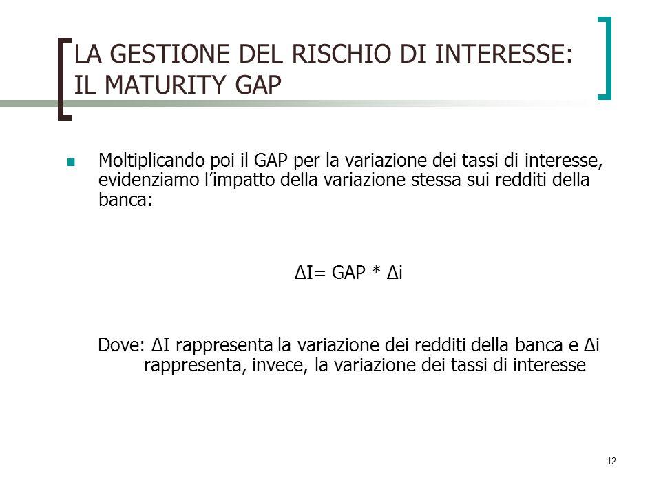 12 LA GESTIONE DEL RISCHIO DI INTERESSE: IL MATURITY GAP Moltiplicando poi il GAP per la variazione dei tassi di interesse, evidenziamo limpatto della