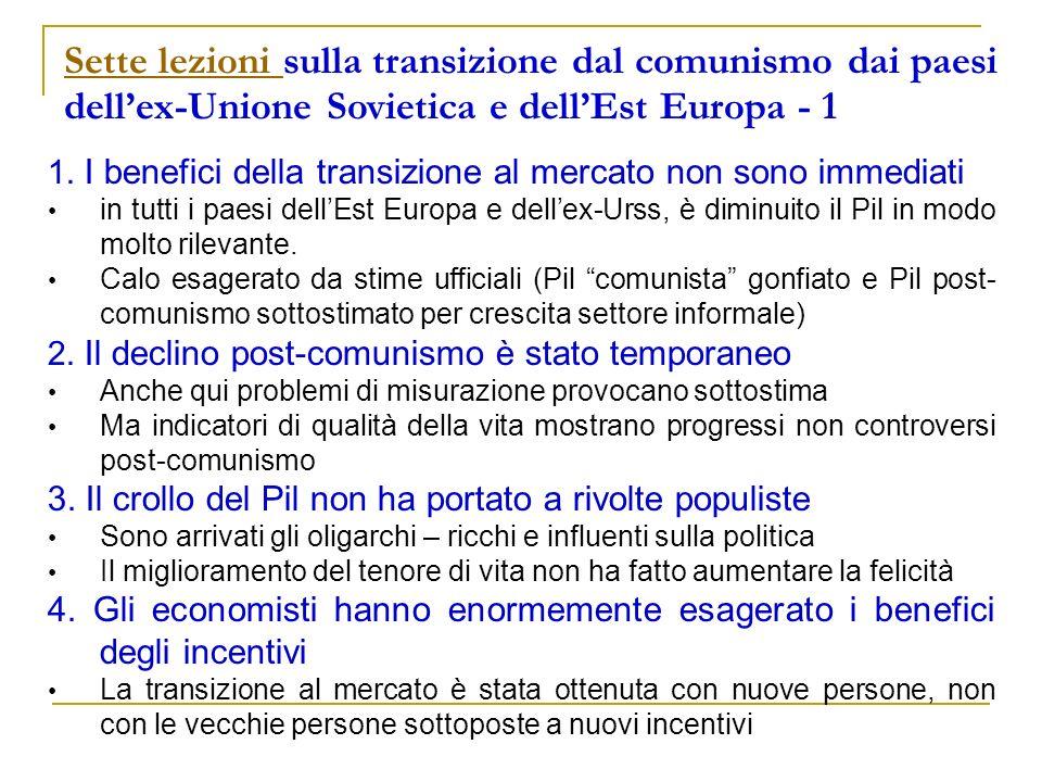 Sette lezioni Sette lezioni sulla transizione dal comunismo dai paesi dellex-Unione Sovietica e dellEst Europa - 1 1. I benefici della transizione al