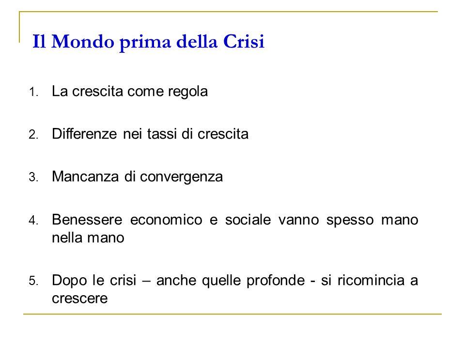 Il Mondo prima della Crisi 1. La crescita come regola 2. Differenze nei tassi di crescita 3. Mancanza di convergenza 4. Benessere economico e sociale
