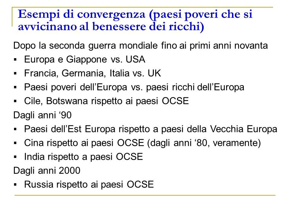 Esempi di convergenza (paesi poveri che si avvicinano al benessere dei ricchi) Dopo la seconda guerra mondiale fino ai primi anni novanta Europa e Gia