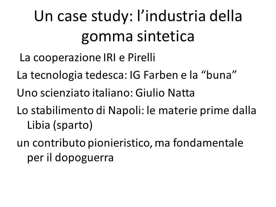 Un case study: lindustria della gomma sintetica La cooperazione IRI e Pirelli La tecnologia tedesca: IG Farben e la buna Uno scienziato italiano: Giul