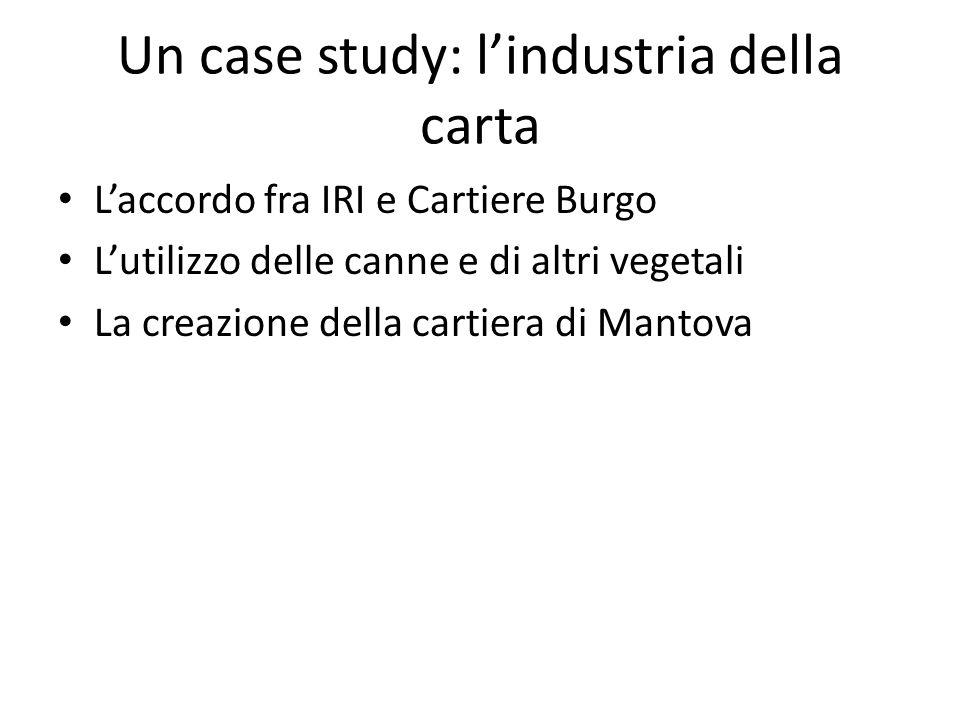 Un case study: lindustria della carta Laccordo fra IRI e Cartiere Burgo Lutilizzo delle canne e di altri vegetali La creazione della cartiera di Manto