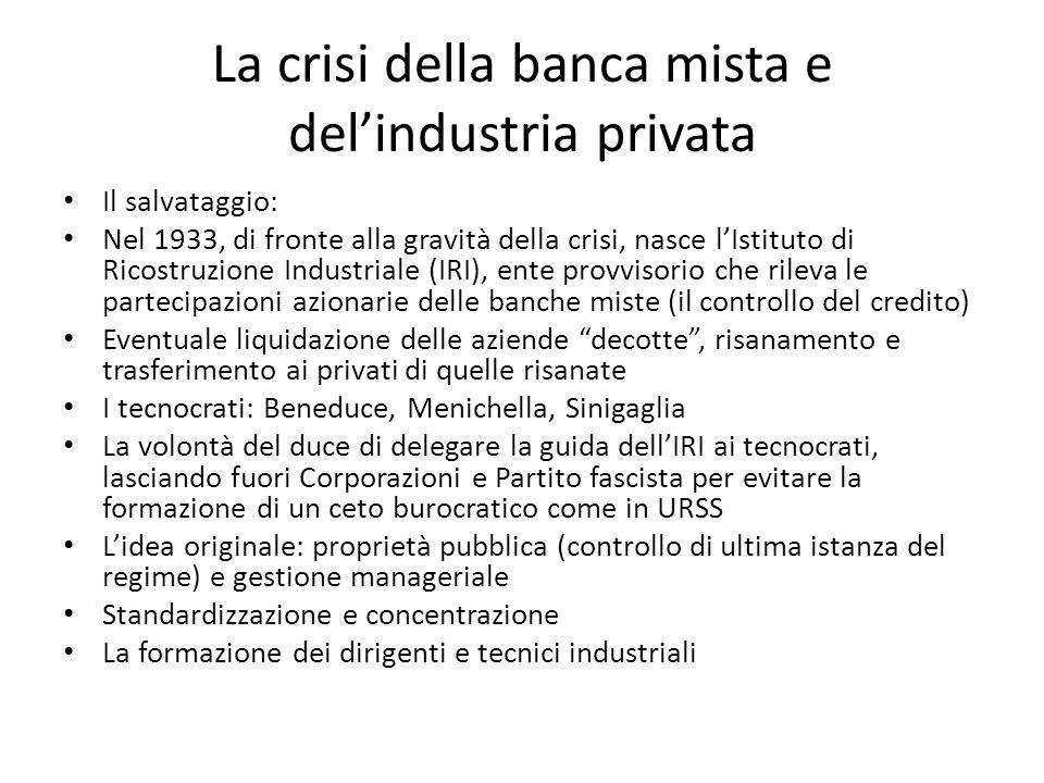 La crisi della banca mista e delindustria privata Il salvataggio: Nel 1933, di fronte alla gravità della crisi, nasce lIstituto di Ricostruzione Indus