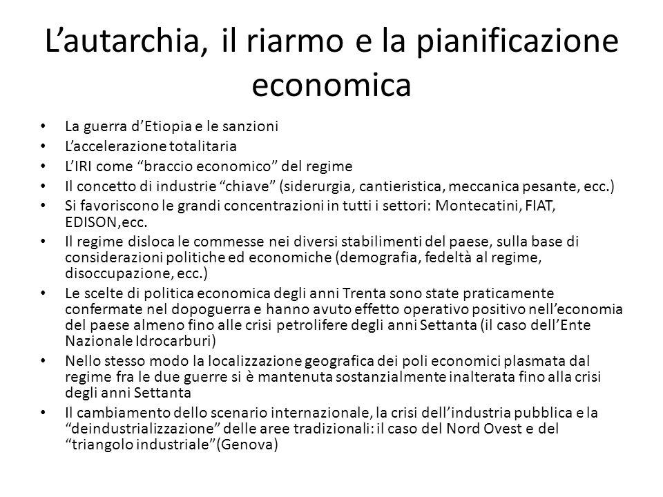 Lautarchia, il riarmo e la pianificazione economica La guerra dEtiopia e le sanzioni Laccelerazione totalitaria LIRI come braccio economico del regime