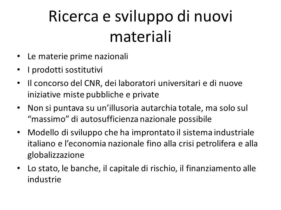 Ricerca e sviluppo di nuovi materiali Le materie prime nazionali I prodotti sostitutivi Il concorso del CNR, dei laboratori universitari e di nuove in