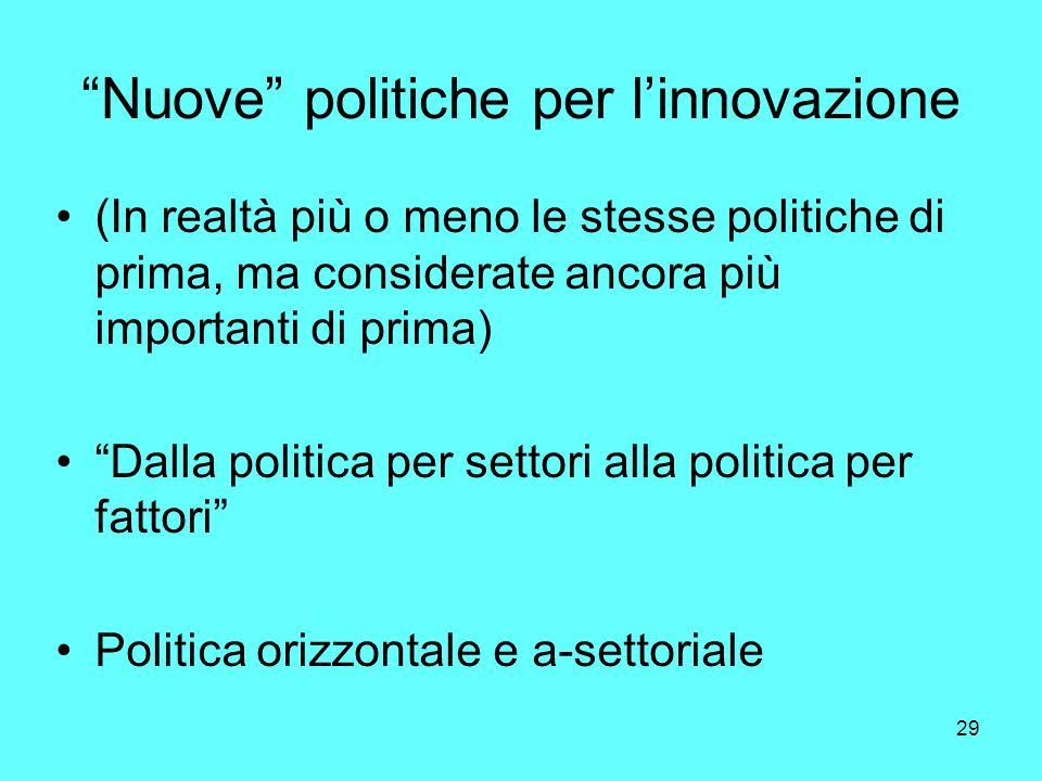 29 Nuove politiche per linnovazione (In realtà più o meno le stesse politiche di prima, ma considerate ancora più importanti di prima) Dalla politica per settori alla politica per fattori Politica orizzontale e a-settoriale