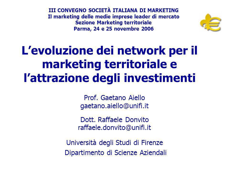 Università degli Studi di Firenze – Prof. G. Aiello – Dott. R. Donvito Levoluzione dei network per il marketing territoriale e lattrazione degli inves