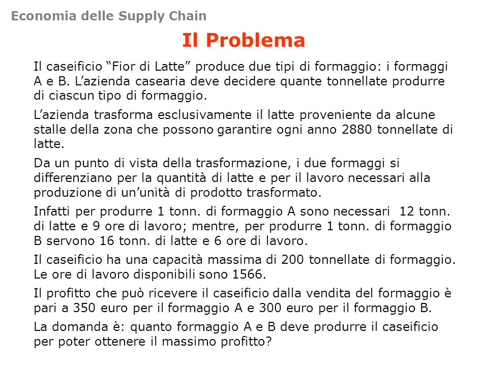 Il Problema Il caseificio Fior di Latte produce due tipi di formaggio: i formaggi A e B. Lazienda casearia deve decidere quante tonnellate produrre di