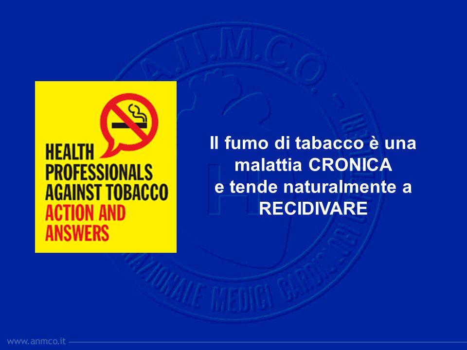 Il fumo di tabacco è una malattia CRONICA e tende naturalmente a RECIDIVARE