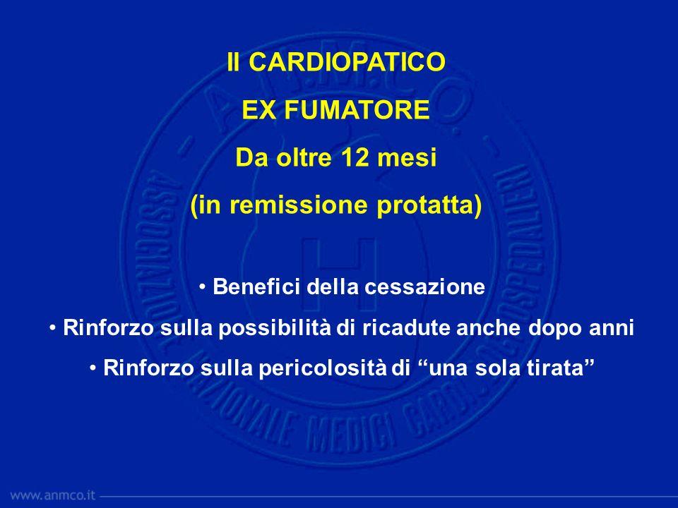 Il CARDIOPATICO EX FUMATORE Da oltre 12 mesi (in remissione protatta) Benefici della cessazione Rinforzo sulla possibilità di ricadute anche dopo anni