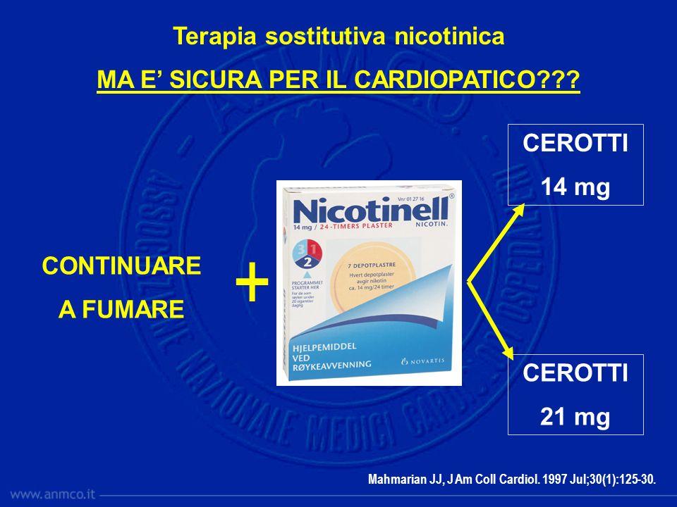 CONTINUARE A FUMARE + CEROTTI 14 mg CEROTTI 21 mg Mahmarian JJ, J Am Coll Cardiol. 1997 Jul;30(1):125-30. Terapia sostitutiva nicotinica MA E SICURA P