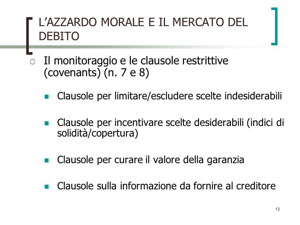13 LAZZARDO MORALE E IL MERCATO DEL DEBITO Il monitoraggio e le clausole restrittive (covenants) (n. 7 e 8) Clausole per limitare/escludere scelte ind
