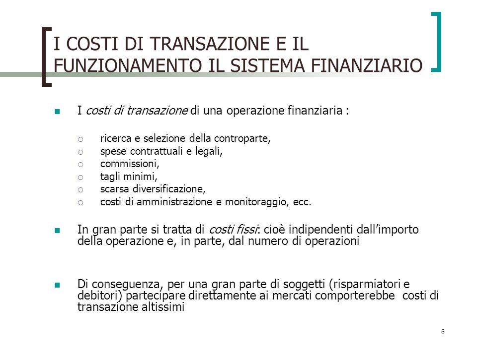 I COSTI DI TRANSAZIONE E IL FUNZIONAMENTO IL SISTEMA FINANZIARIO I costi di transazione di una operazione finanziaria : ricerca e selezione della cont