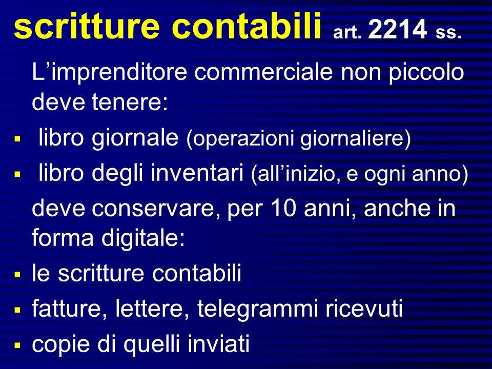 scritture contabili art.2214 ss.