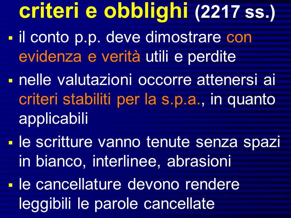 criteri e obblighi (2217 ss.) il conto p.p.