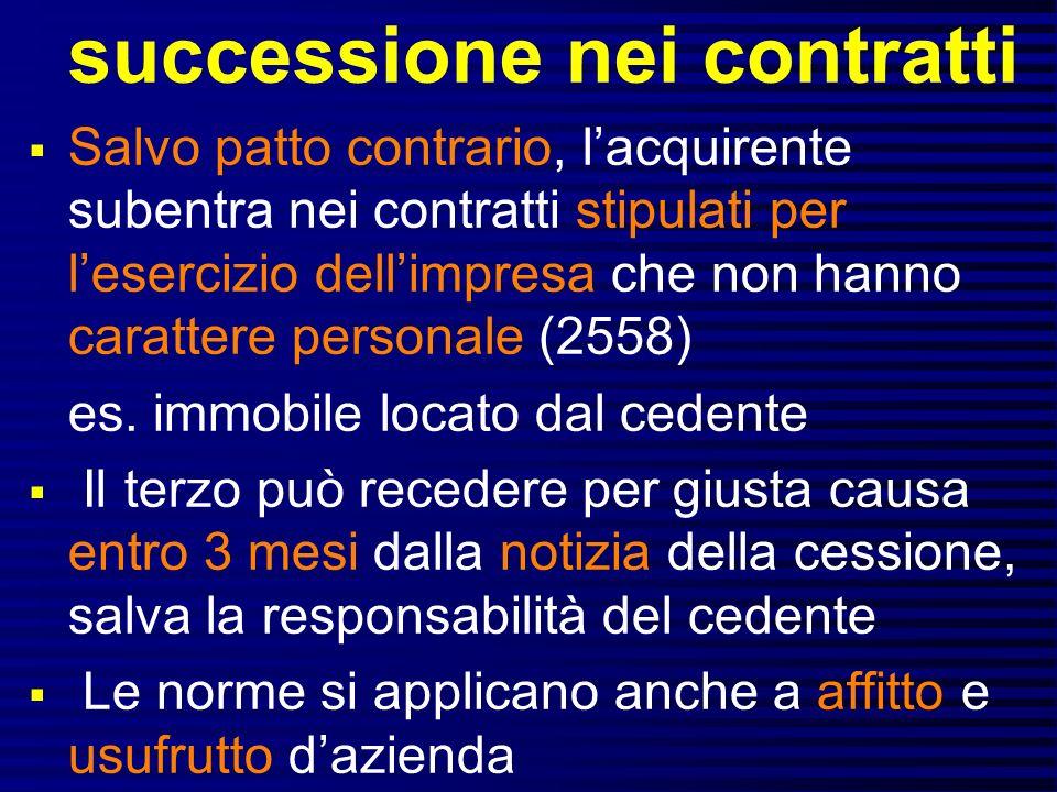 successione nei contratti Salvo patto contrario, lacquirente subentra nei contratti stipulati per lesercizio dellimpresa che non hanno carattere personale (2558) es.