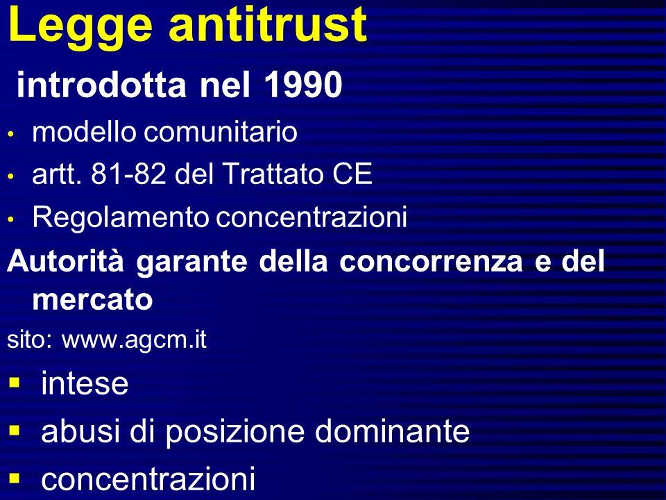 Legge antitrust introdotta nel 1990 modello comunitario artt.