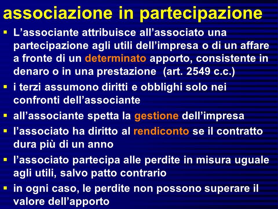 associazione in partecipazione Lassociante attribuisce allassociato una partecipazione agli utili dellimpresa o di un affare a fronte di un determinato apporto, consistente in denaro o in una prestazione (art.