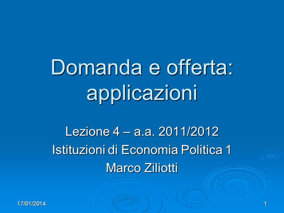17/01/20142 Calendario/cosa faremo Lez.2: domanda e offerta, equilibrio di mercato Lez.2: domanda e offerta, equilibrio di mercato Lez.3: esercizi Lez.3: esercizi Lez.