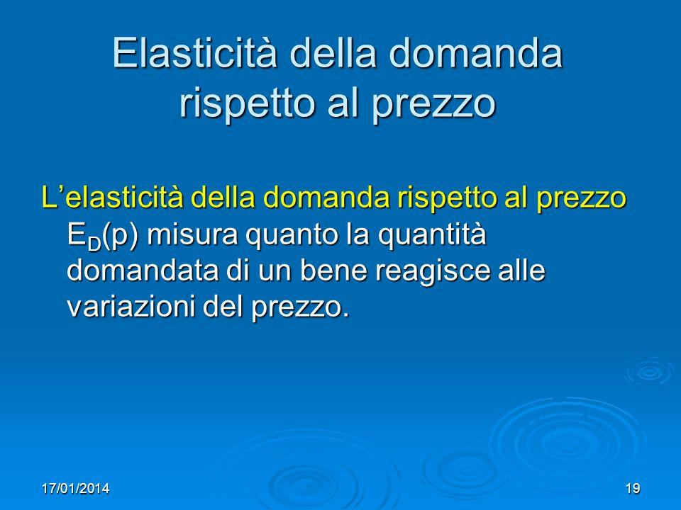 17/01/201419 Elasticità della domanda rispetto al prezzo Lelasticità della domanda rispetto al prezzo E D (p) misura quanto la quantità domandata di un bene reagisce alle variazioni del prezzo.