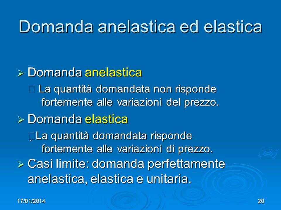 17/01/201420 Domanda anelastica ed elastica Domanda anelastica Domanda anelastica La quantità domandata non risponde fortemente alle variazioni del prezzo.