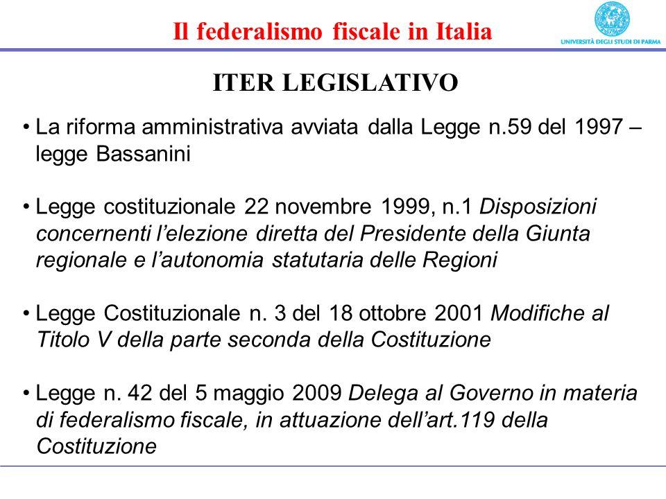 Il federalismo fiscale in Italia ITER LEGISLATIVO La riforma amministrativa avviata dalla Legge n.59 del 1997 – legge Bassanini Legge costituzionale 22 novembre 1999, n.1 Disposizioni concernenti lelezione diretta del Presidente della Giunta regionale e lautonomia statutaria delle Regioni Legge Costituzionale n.