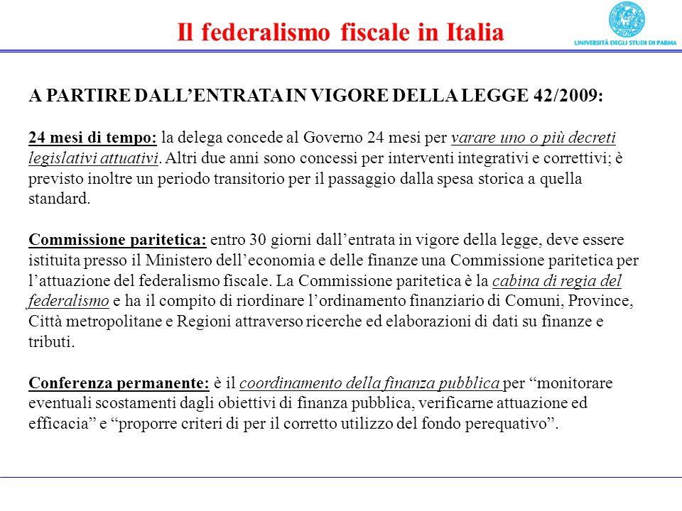 Il federalismo fiscale in Italia A PARTIRE DALLENTRATA IN VIGORE DELLA LEGGE 42/2009: 24 mesi di tempo: la delega concede al Governo 24 mesi per varare uno o più decreti legislativi attuativi.