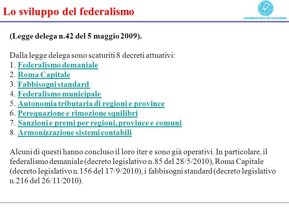 Lo sviluppo del federalismo (Legge delega n.42 del 5 maggio 2009).