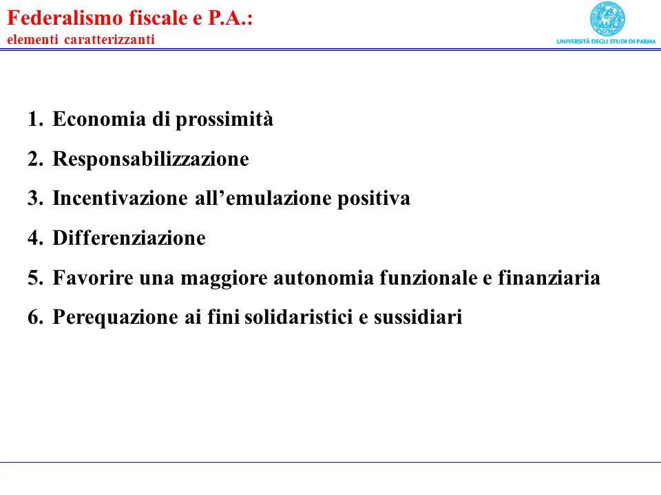 Federalismo fiscale e P.A.: elementi caratterizzanti 1.Economia di prossimità 2.Responsabilizzazione 3.Incentivazione allemulazione positiva 4.Differenziazione 5.Favorire una maggiore autonomia funzionale e finanziaria 6.Perequazione ai fini solidaristici e sussidiari