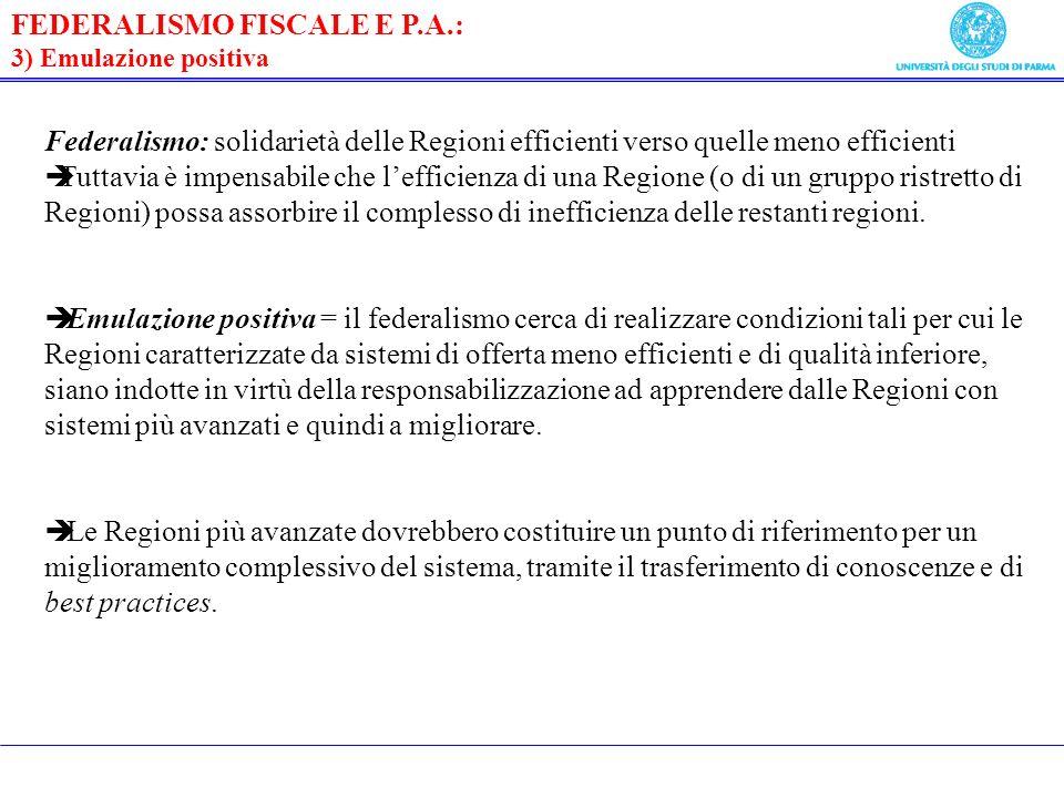 FEDERALISMO FISCALE E P.A.: 3) Emulazione positiva Federalismo: solidarietà delle Regioni efficienti verso quelle meno efficienti Tuttavia è impensabile che lefficienza di una Regione (o di un gruppo ristretto di Regioni) possa assorbire il complesso di inefficienza delle restanti regioni.