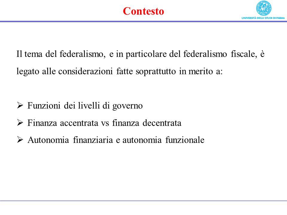 Contesto Il tema del federalismo, e in particolare del federalismo fiscale, è legato alle considerazioni fatte soprattutto in merito a: Funzioni dei livelli di governo Finanza accentrata vs finanza decentrata Autonomia finanziaria e autonomia funzionale