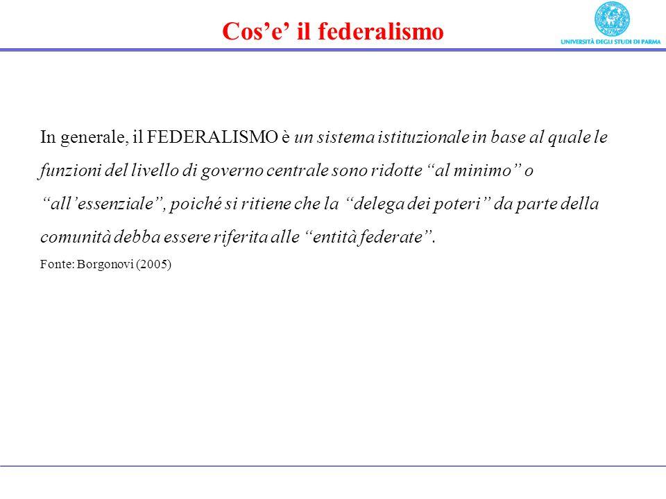 Cose il federalismo In generale, il FEDERALISMO è un sistema istituzionale in base al quale le funzioni del livello di governo centrale sono ridotte al minimo o allessenziale, poiché si ritiene che la delega dei poteri da parte della comunità debba essere riferita alle entità federate.