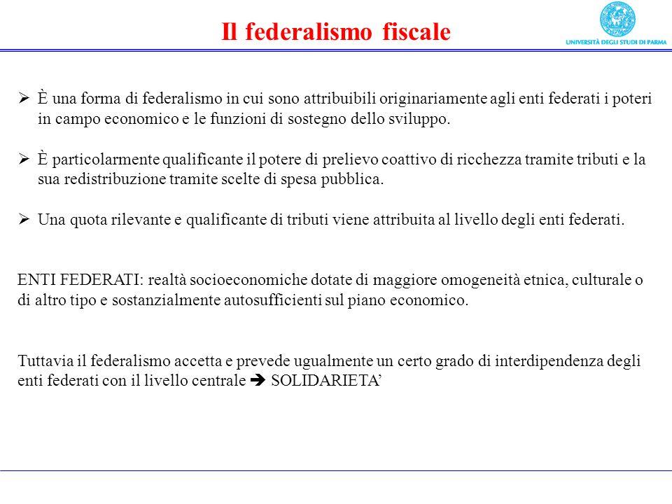 Il federalismo fiscale È una forma di federalismo in cui sono attribuibili originariamente agli enti federati i poteri in campo economico e le funzioni di sostegno dello sviluppo.