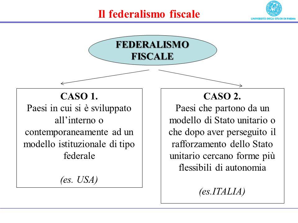 Il federalismo fiscale CASO 1.