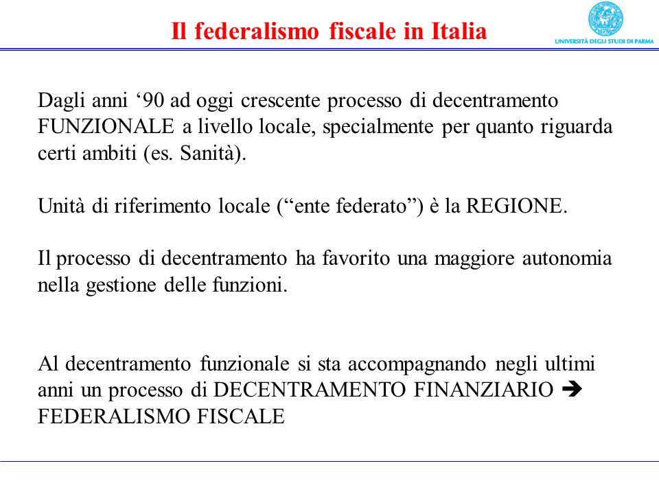 Il federalismo fiscale in Italia Dagli anni 90 ad oggi crescente processo di decentramento FUNZIONALE a livello locale, specialmente per quanto riguarda certi ambiti (es.