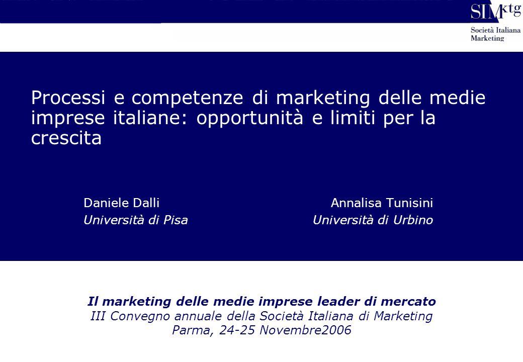 Processi e competenze di marketing delle medie imprese italiane: opportunità e limiti per la crescita Daniele DalliAnnalisa Tunisini Università di Pis