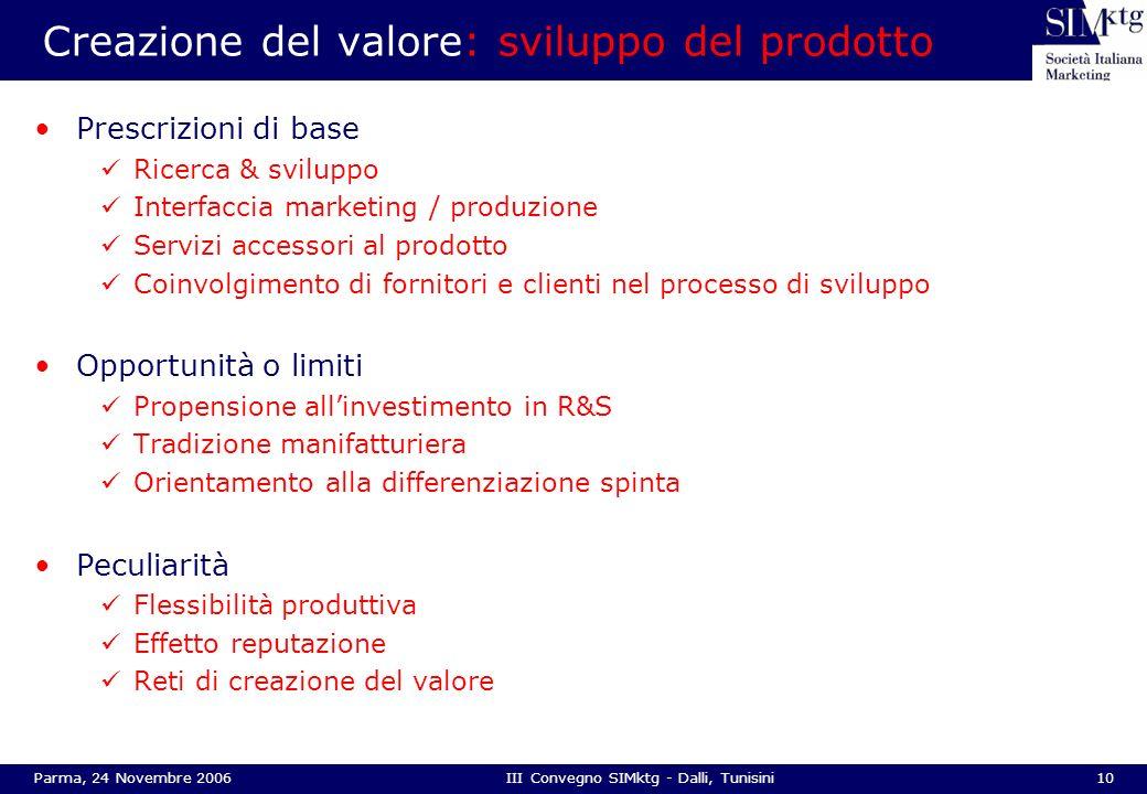 10Parma, 24 Novembre 2006III Convegno SIMktg - Dalli, Tunisini Creazione del valore: sviluppo del prodotto Prescrizioni di base Ricerca & sviluppo Int