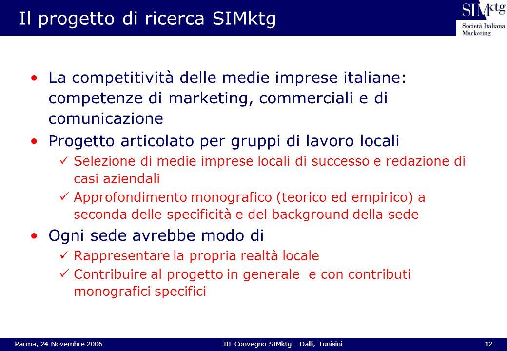12Parma, 24 Novembre 2006III Convegno SIMktg - Dalli, Tunisini Il progetto di ricerca SIMktg La competitività delle medie imprese italiane: competenze