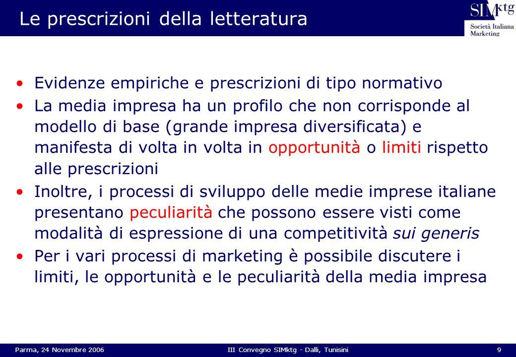 9Parma, 24 Novembre 2006III Convegno SIMktg - Dalli, Tunisini Le prescrizioni della letteratura Evidenze empiriche e prescrizioni di tipo normativo La