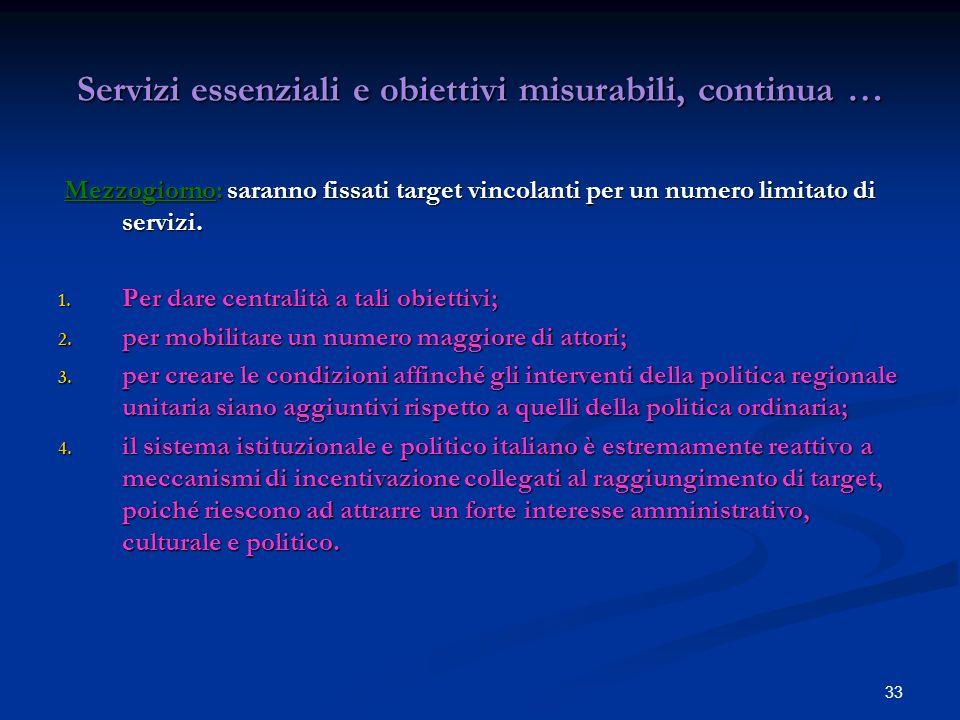 33 Servizi essenziali e obiettivi misurabili, continua … Mezzogiorno: saranno fissati target vincolanti per un numero limitato di servizi.