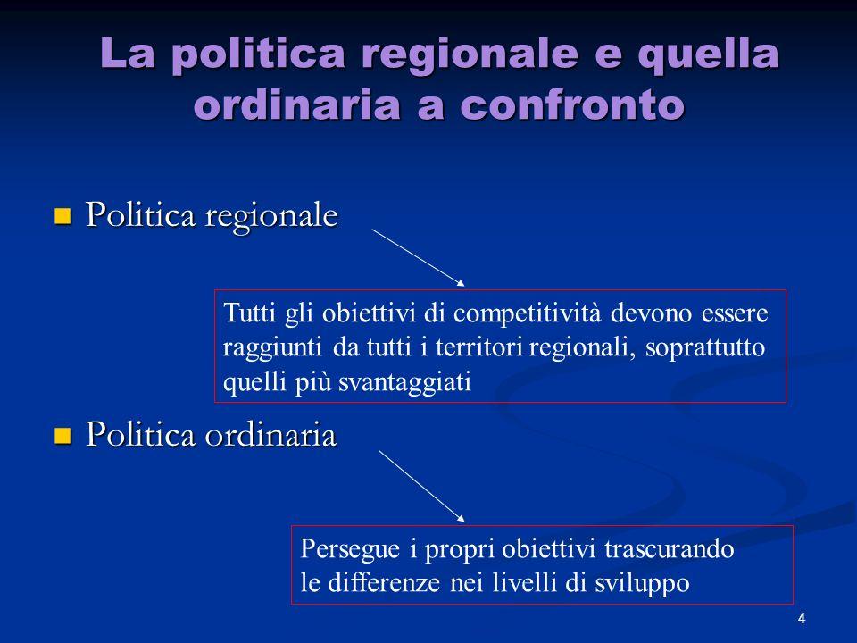 4 La politica regionale e quella ordinaria a confronto Politica regionale Politica regionale Politica ordinaria Politica ordinaria Persegue i propri obiettivi trascurando le differenze nei livelli di sviluppo Tutti gli obiettivi di competitività devono essere raggiunti da tutti i territori regionali, soprattutto quelli più svantaggiati