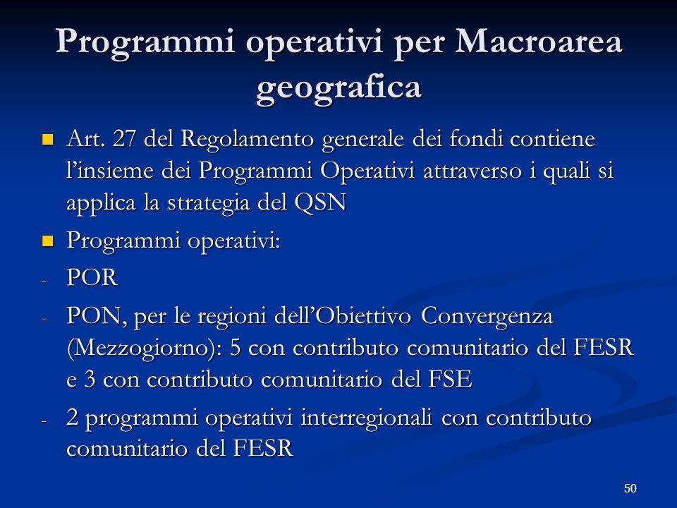 50 Programmi operativi per Macroarea geografica Art.