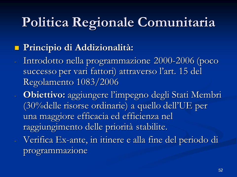 52 Politica Regionale Comunitaria Principio di Addizionalità: Principio di Addizionalità: - Introdotto nella programmazione 2000-2006 (poco successo per vari fattori) attraverso lart.