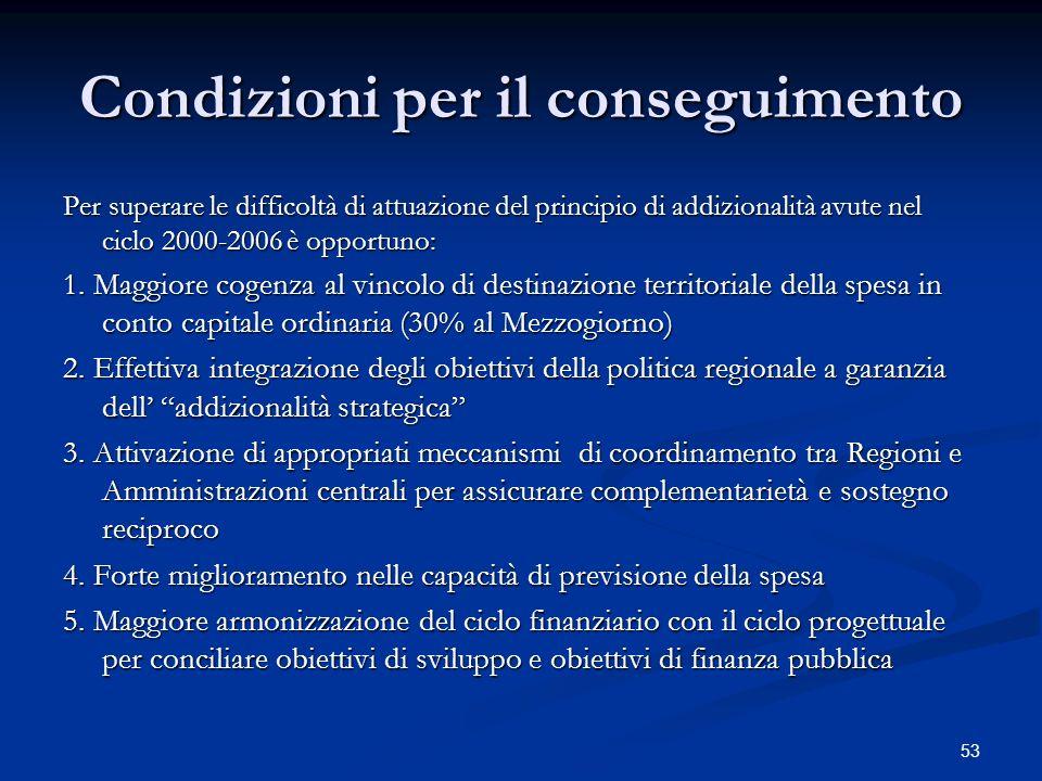 53 Condizioni per il conseguimento Per superare le difficoltà di attuazione del principio di addizionalità avute nel ciclo 2000-2006 è opportuno: 1.