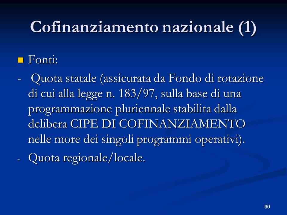 60 Cofinanziamento nazionale (1) Fonti: Fonti: - Quota statale (assicurata da Fondo di rotazione di cui alla legge n.